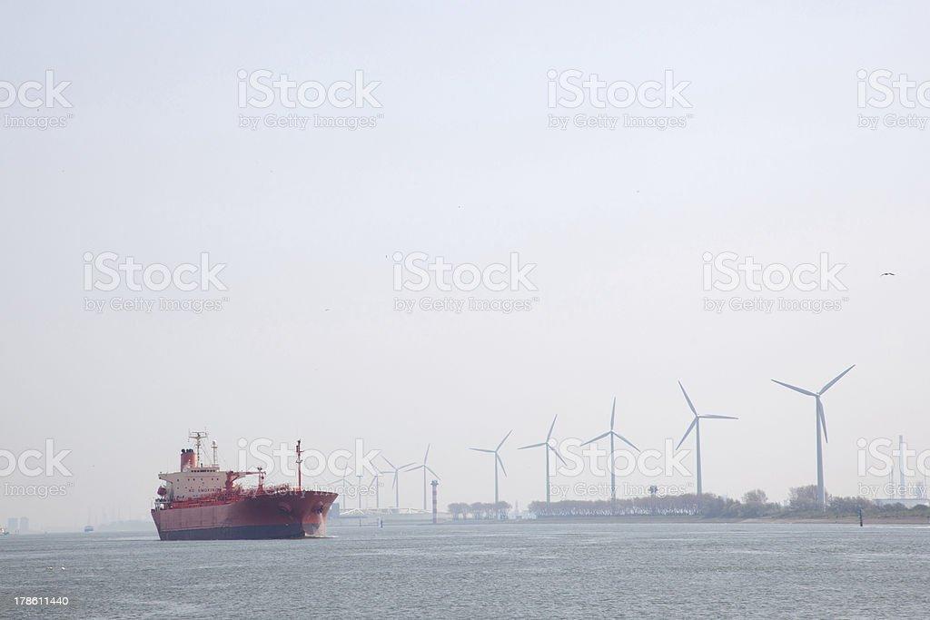 Oil tanker in Nieuwe Waterweg near port of Rotterdam stock photo