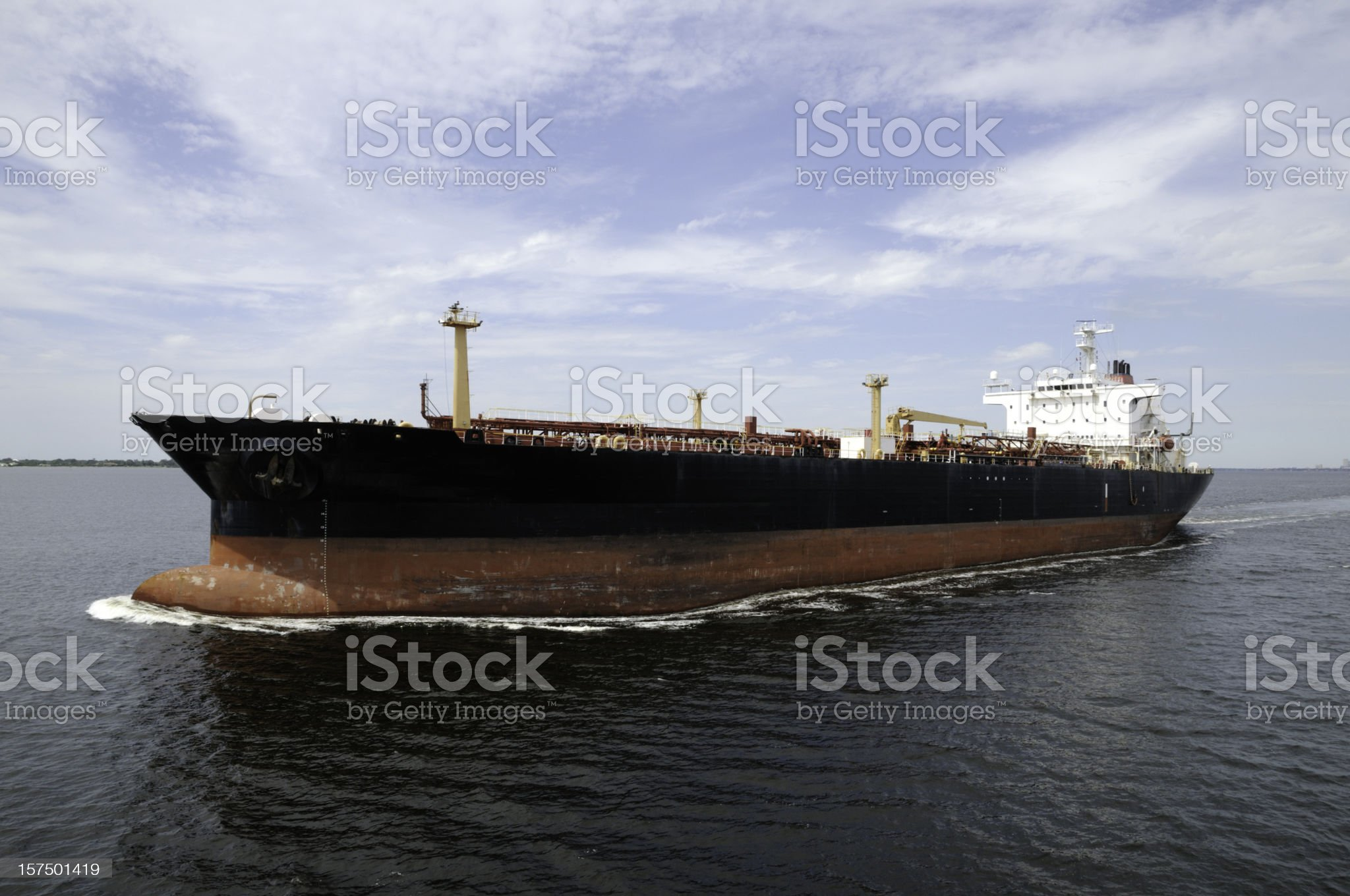 Oil Tanker leaving port royalty-free stock photo