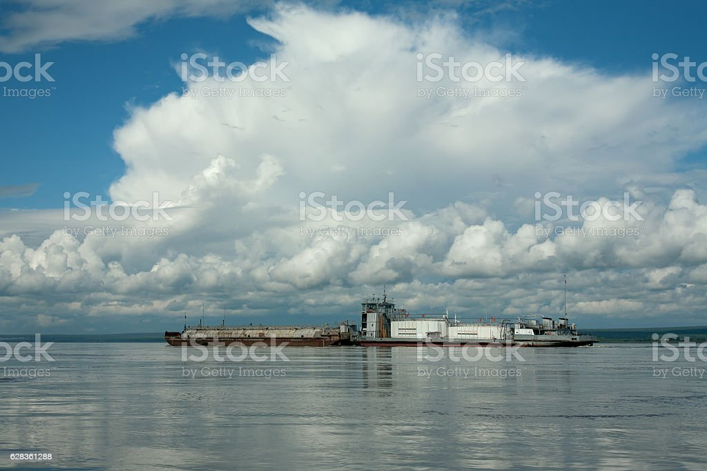 Oil tanker on the big river. stock photo