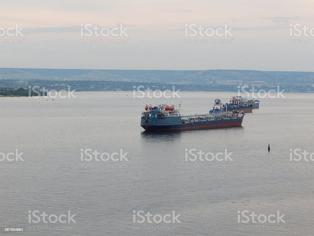Oil tanker on the Volga River. stock photo