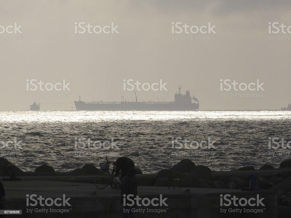 Oil Tanker (Tank ship) seascapes royalty-free stock photo