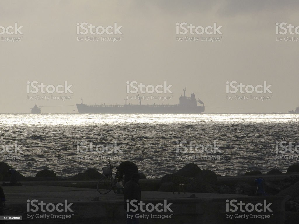 Oil Tanker (Tank ship) seascapes stock photo