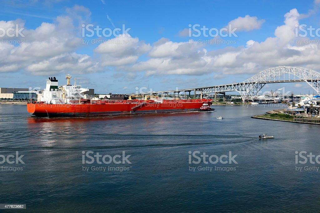 Oil Tanker Ship Entering Corpus Christi Texas Port stock photo
