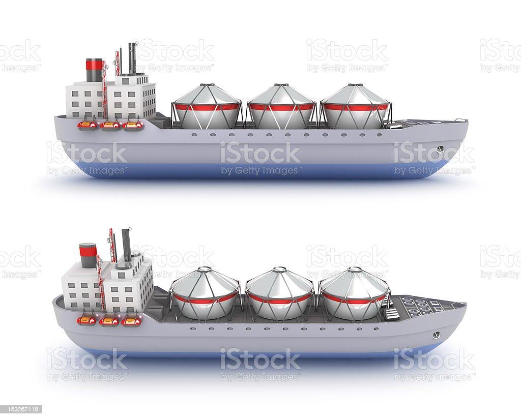 Oil tanker ship on white background stock photo