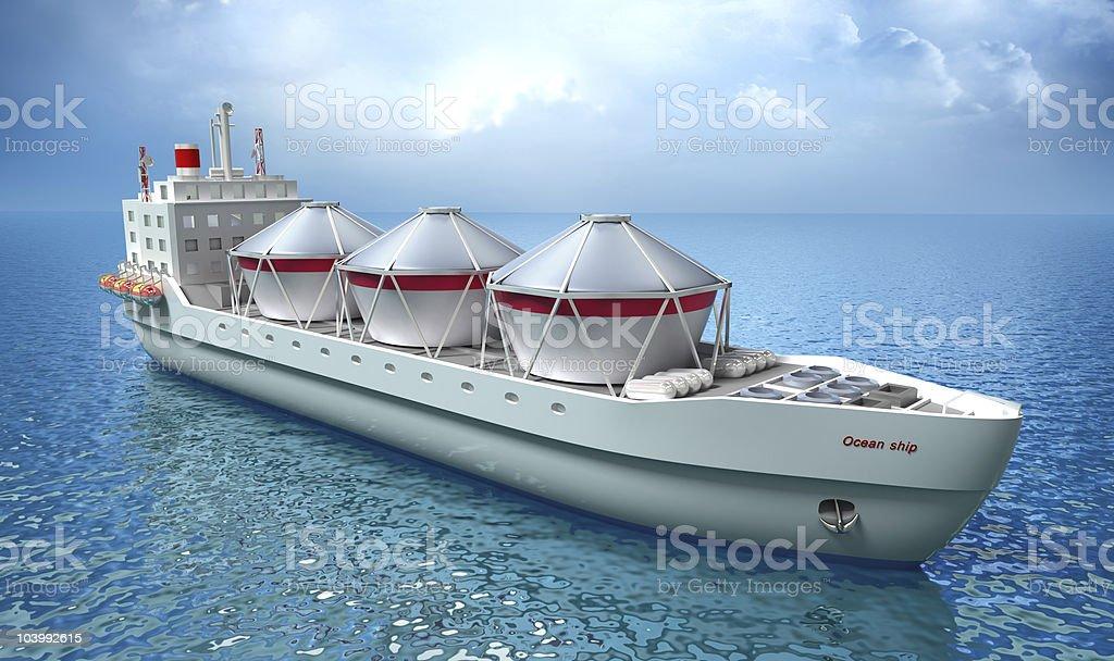 Oil Tanker ship sails across the Ocean stock photo
