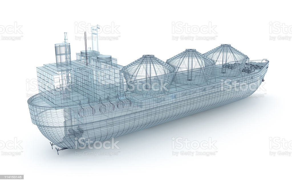 Oil tanker ship wire model isolated on white stock photo