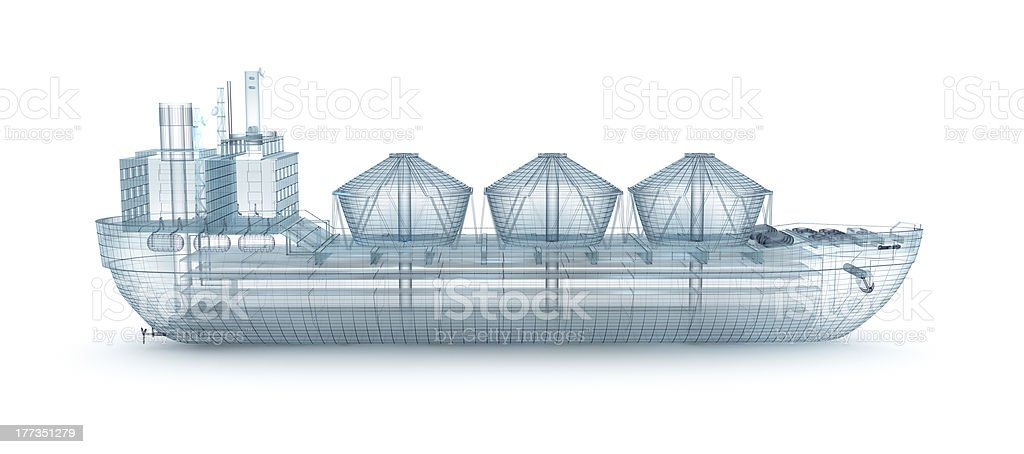 Oil tanker ship wire model isolated on white royalty-free stock photo