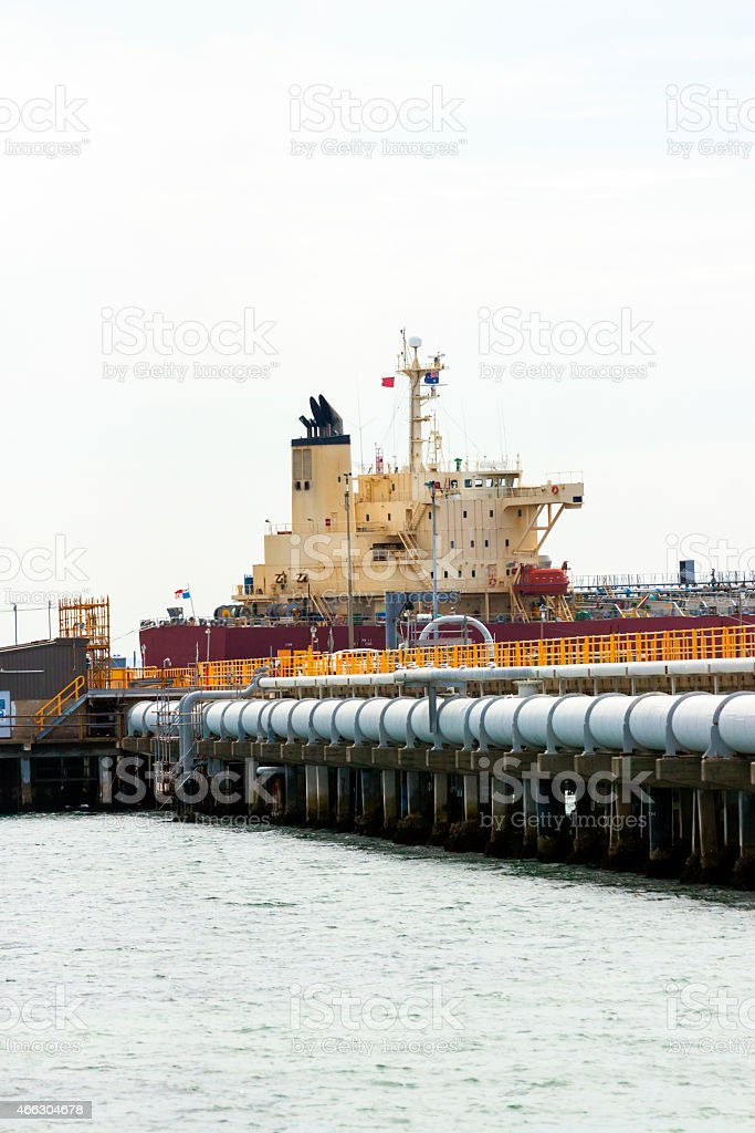 Oil Tanker terminal with liquid oil supply pipes stock photo