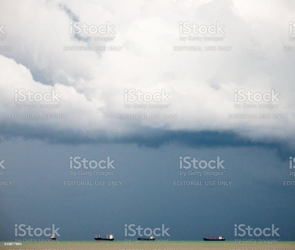 Oil Tankers Big Storm Looming stock photo