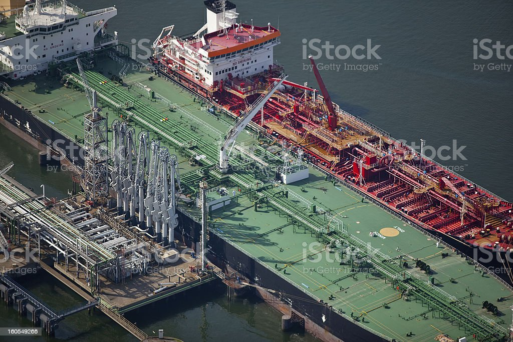 Oil tankers in a harbor royalty-free stock photo