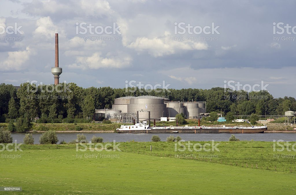 Oil Tanks And Ship royalty-free stock photo