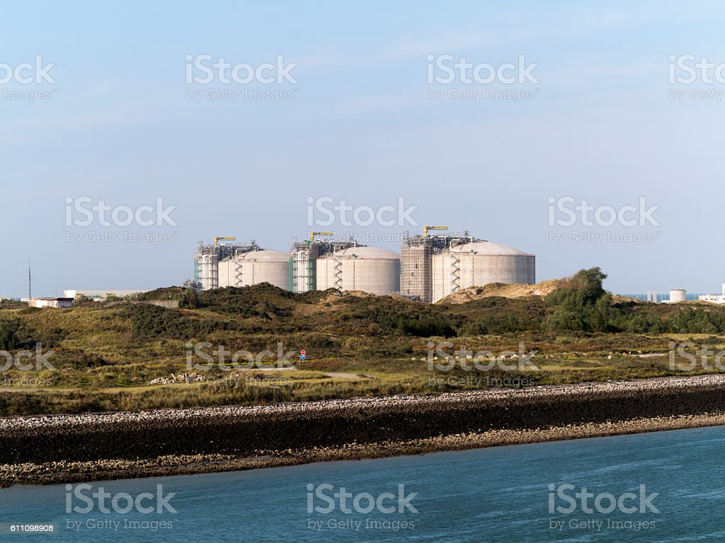 Oil tanks at a harbour stock photo
