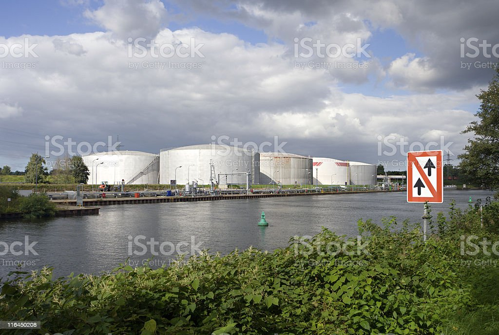 Oil Tanks At Canal Port royalty-free stock photo