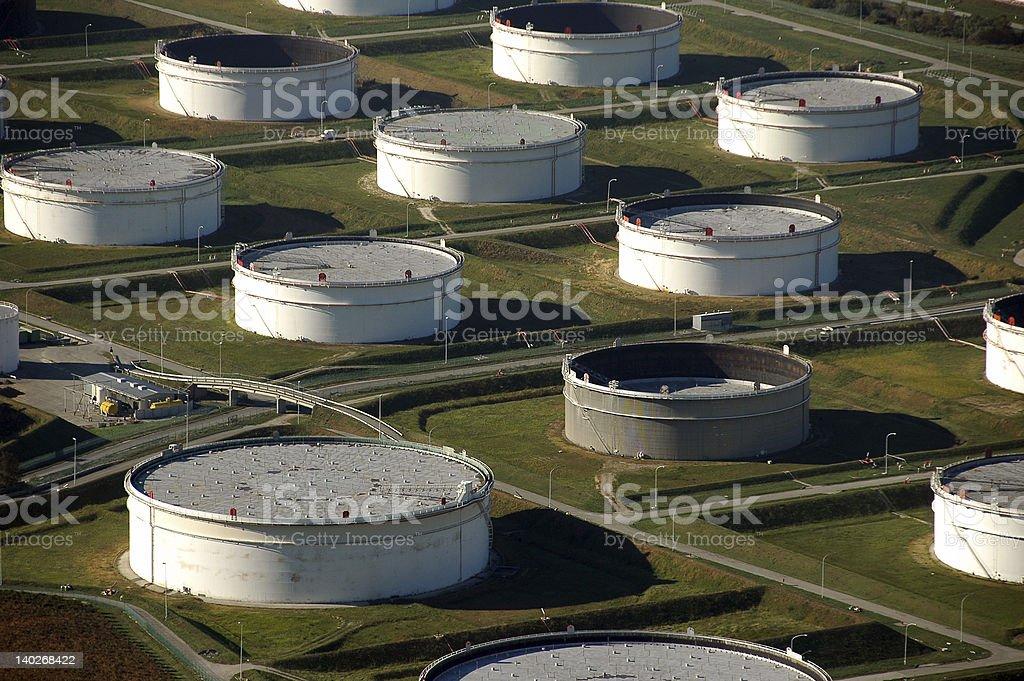 Oil tanks near port royalty-free stock photo