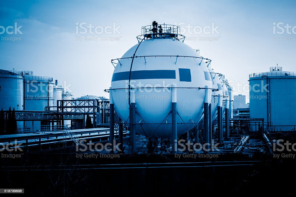 Oil tanks, Petrochemical plant. stock photo