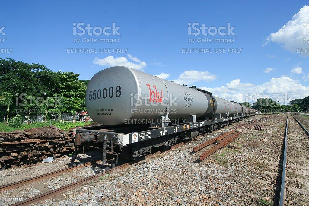 Oil Train car for Ptt Company. stock photo