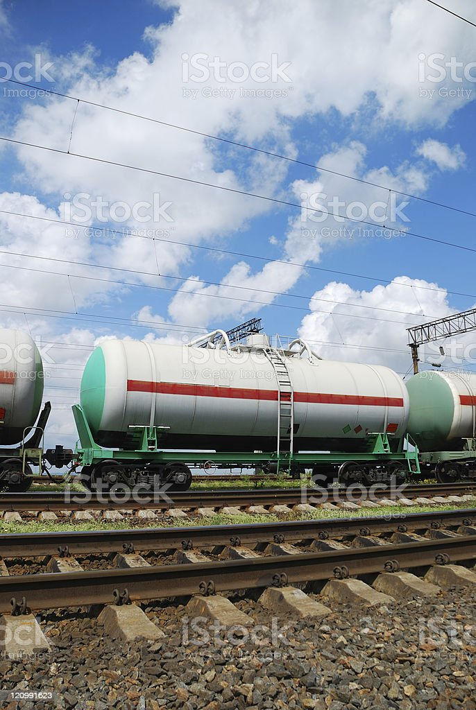 Oil transportation in tanks by rail royalty-free stock photo