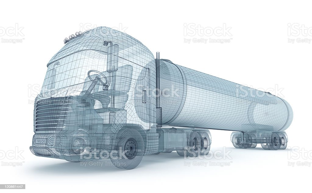 Oil truck with cargo container, wire model stock photo