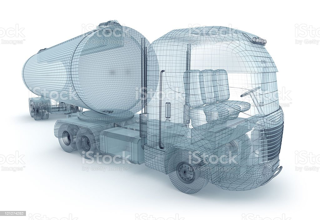 Oil truck with cargo container, wire model royalty-free stock photo