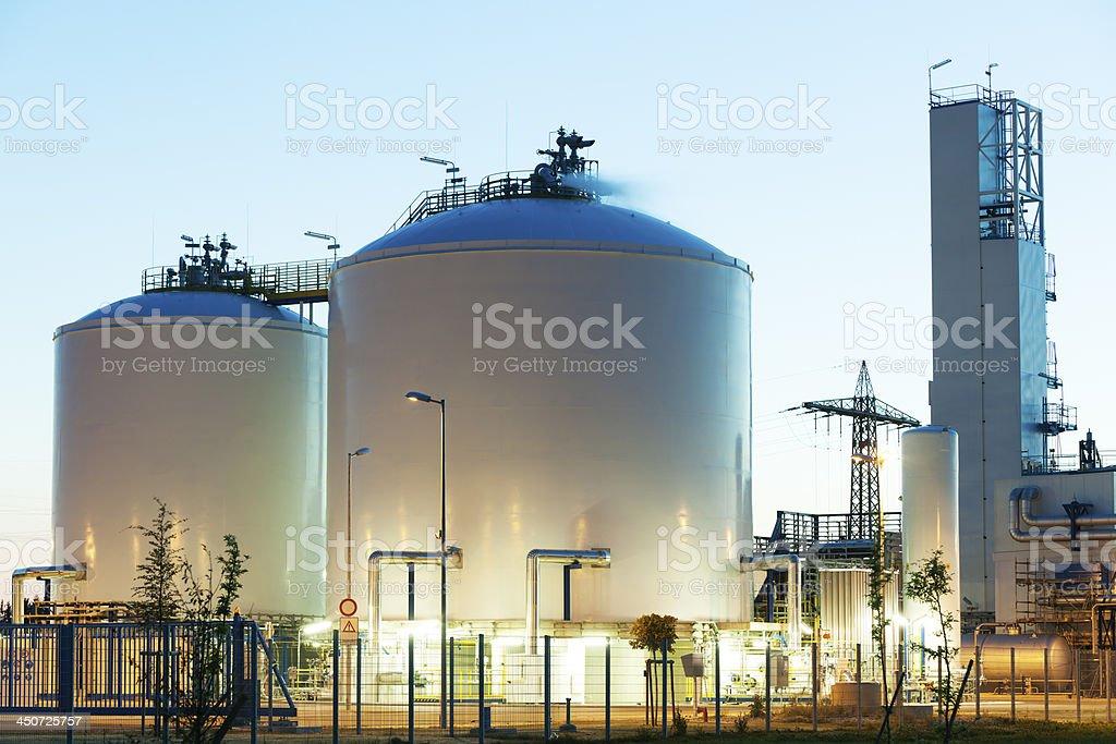 Oil und Gas Storage Tanks at Dusk stock photo
