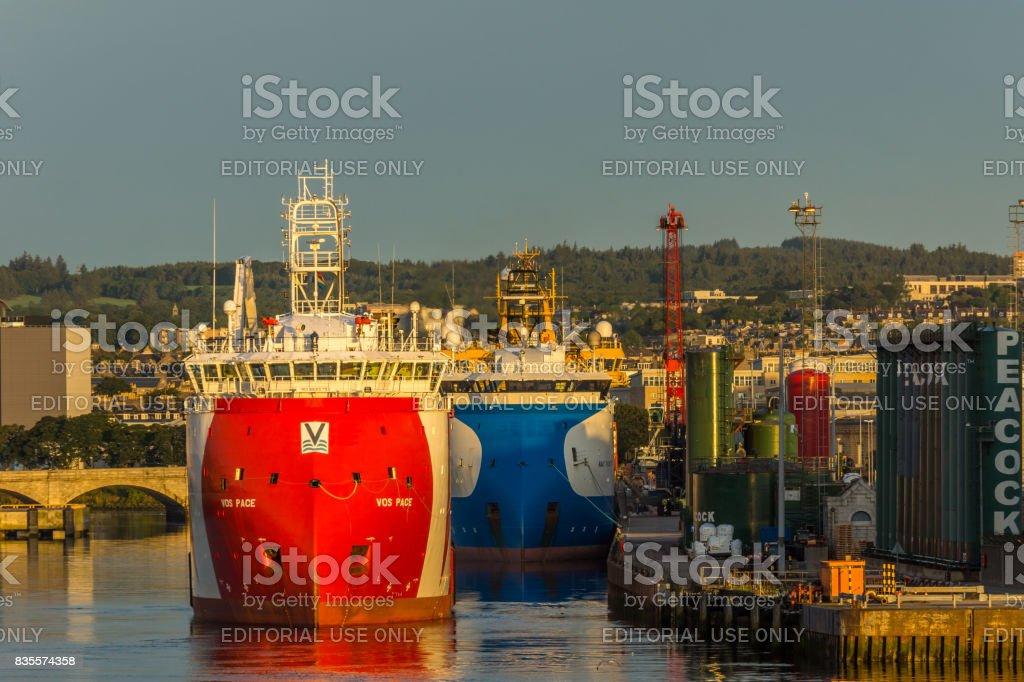 Oil vessels at dawn. stock photo