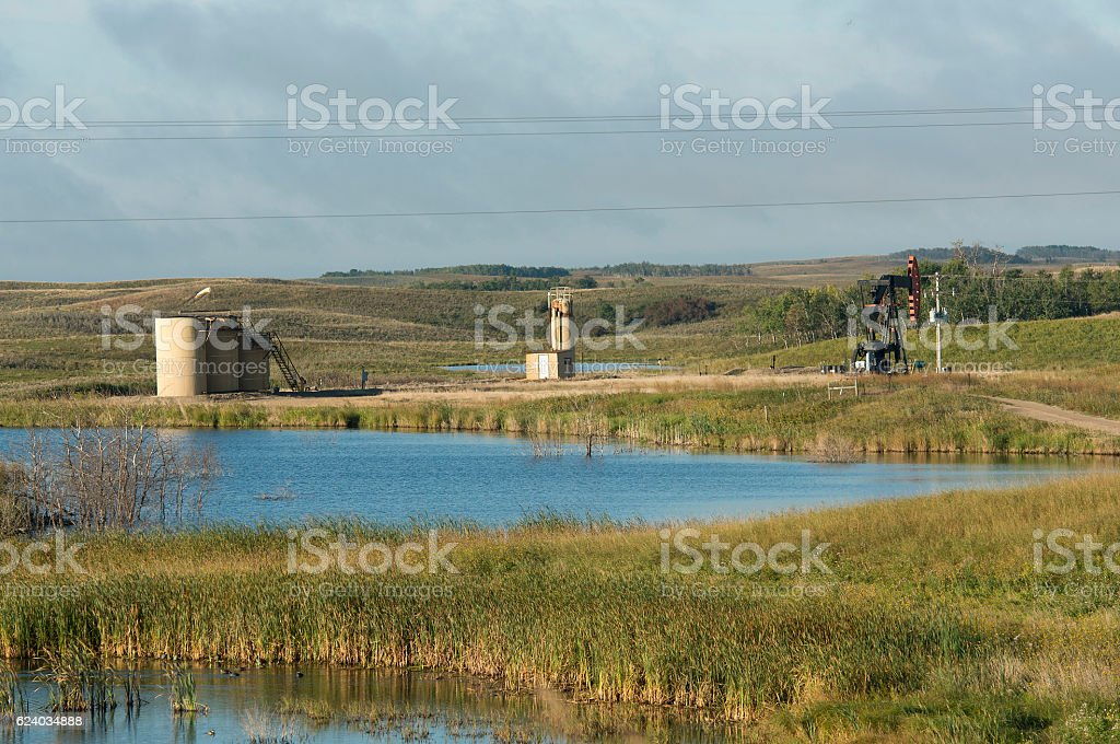 Oil well by a wetland stock photo