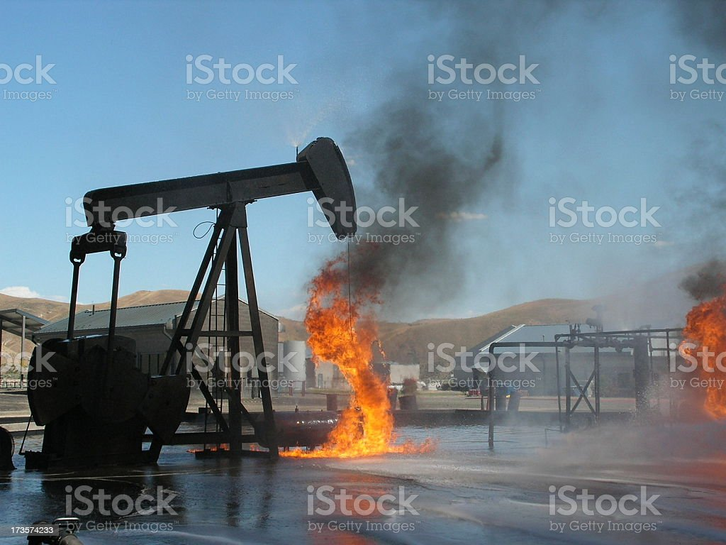 Oil Well Fire stock photo