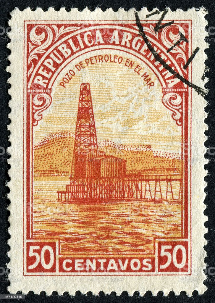 Oil Well From Argentina Stamp royalty-free stock photo