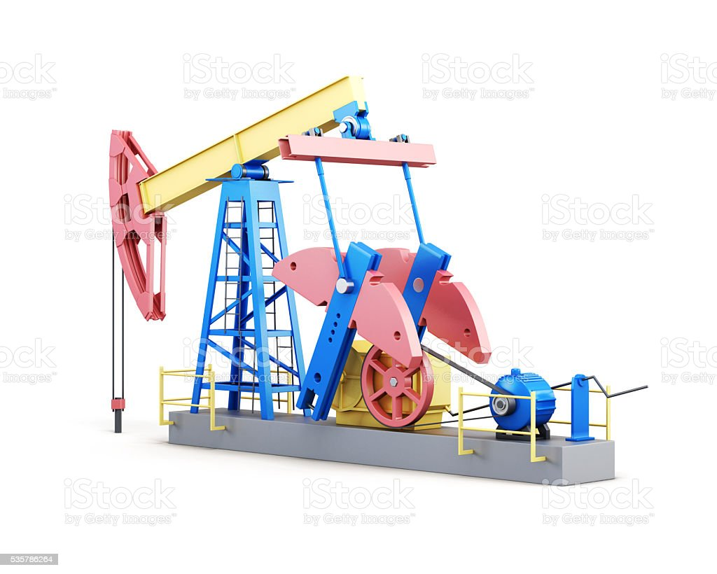 Oil well pump isolated on white background. 3d render image stock photo