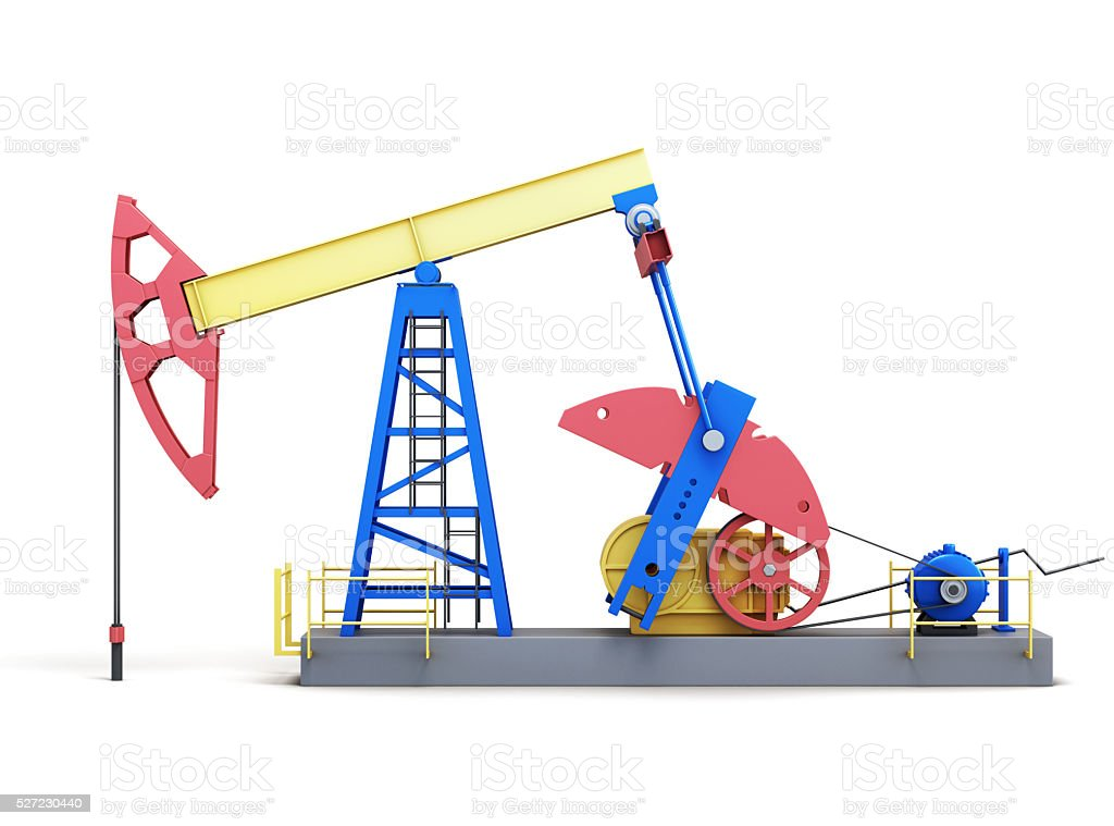 Oil well pump isolated on white background. stock photo
