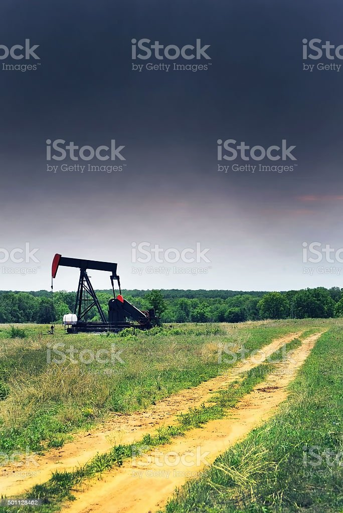 Oil Well Pumper. stock photo