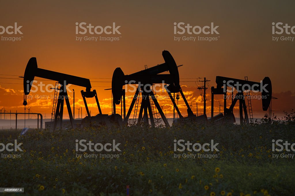Oil Well Silhouettes stock photo