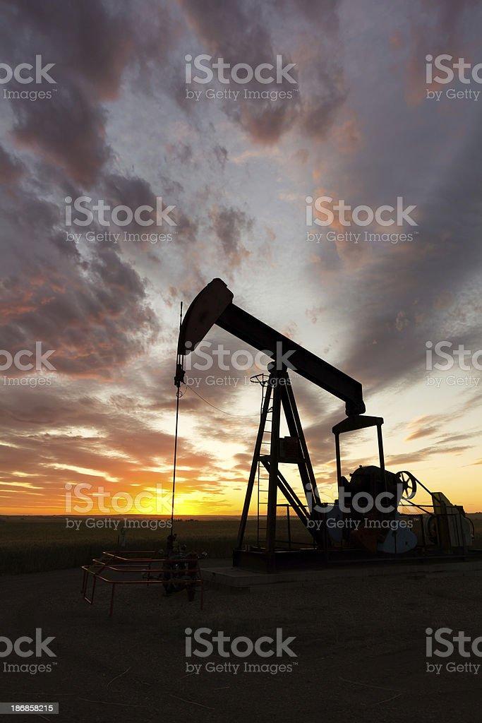 Oil Well Sunset stock photo