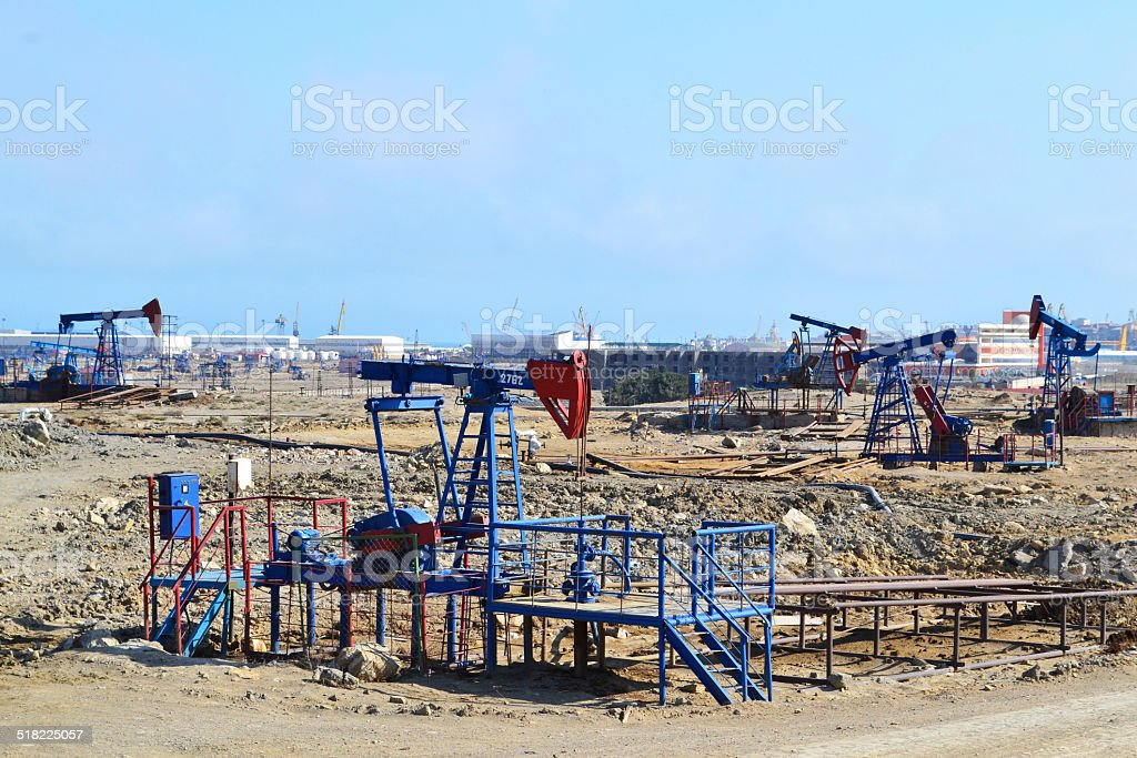Oil wells stock photo