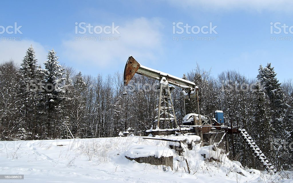 oil wells winter royalty-free stock photo