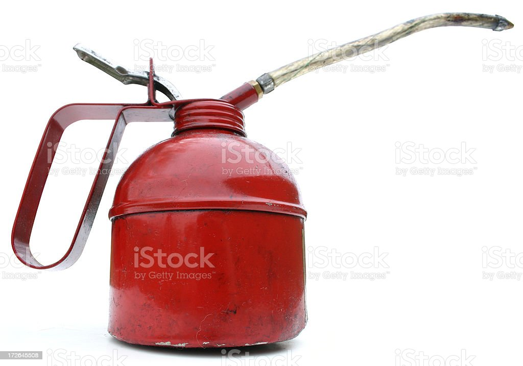 oilcan with spout profile stock photo