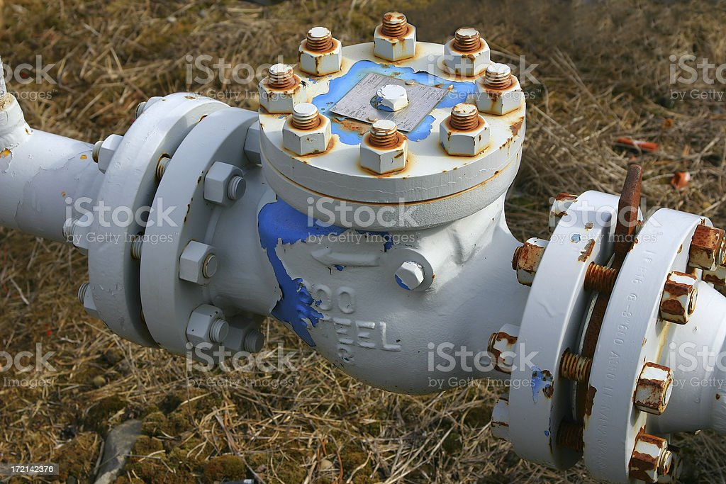 Oilfield 11 used to prevent back flow on an pipeline stock photo