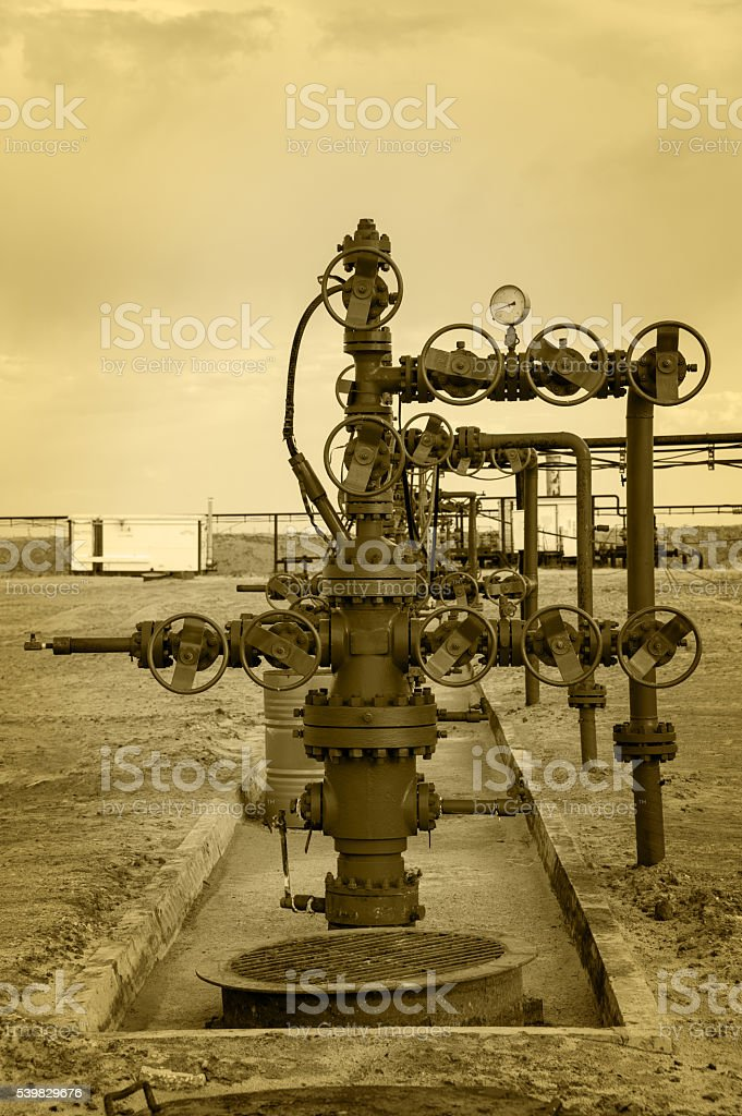 Oilfield. Concept oil and gas industry. stock photo