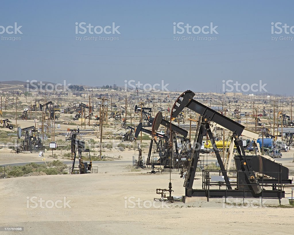 Oilfield in California with Multiple Wellhead Pumps. royalty-free stock photo