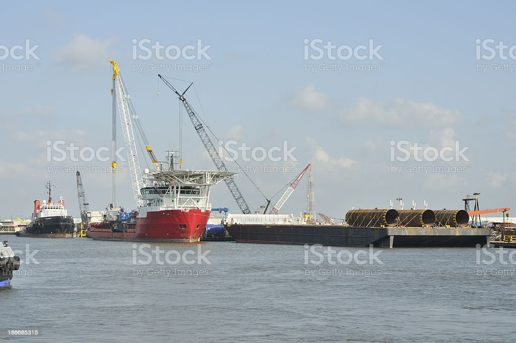 Oilfield support vessels royalty-free stock photo