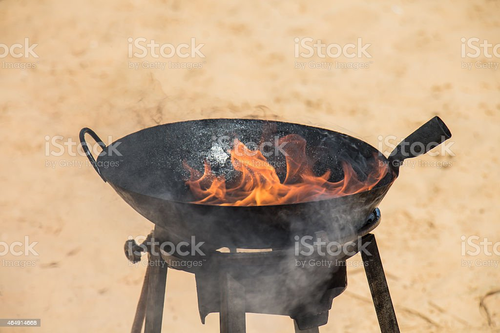 Oil-fired Heat until the flame stock photo