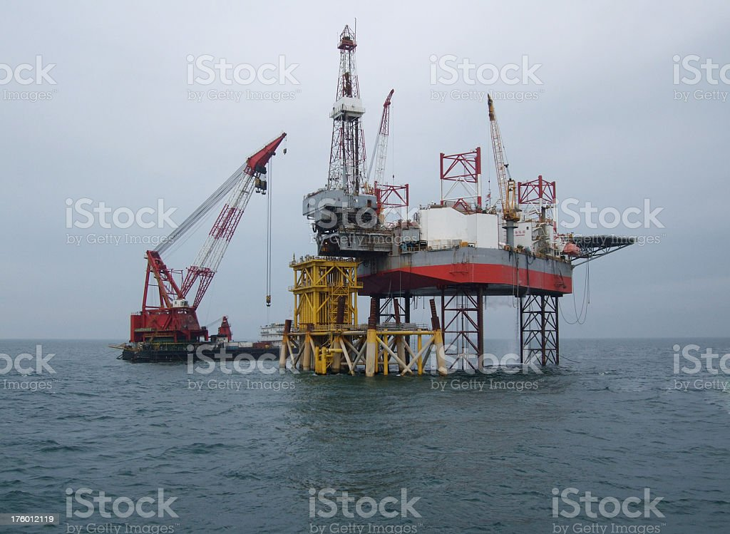 Oilrig over production platform stock photo