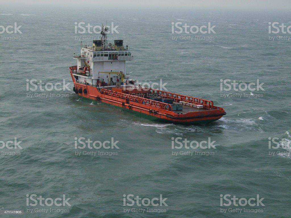 Oilrig supply vessel stock photo