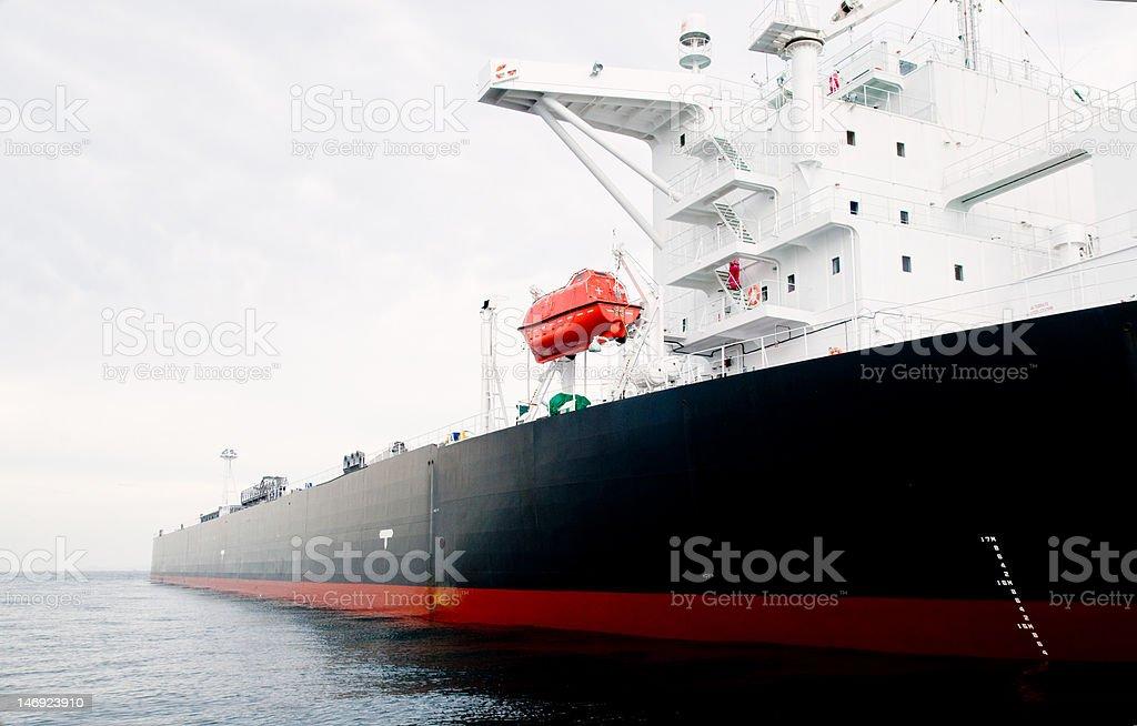 Oil-tanker moored offshore stock photo