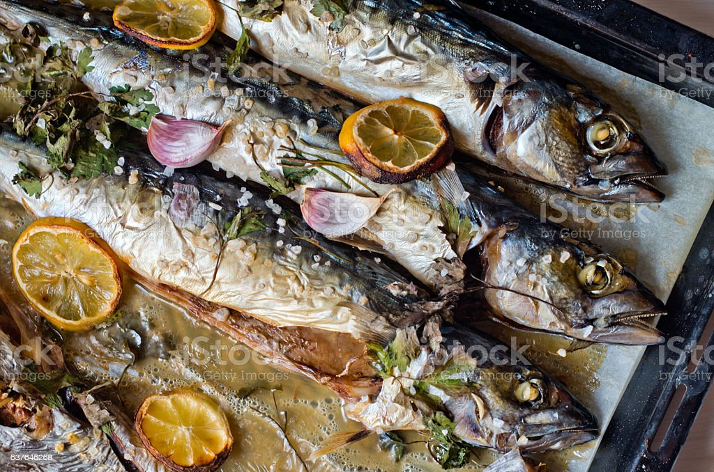 oily fish rich in antioxidants freshly cooked stock photo