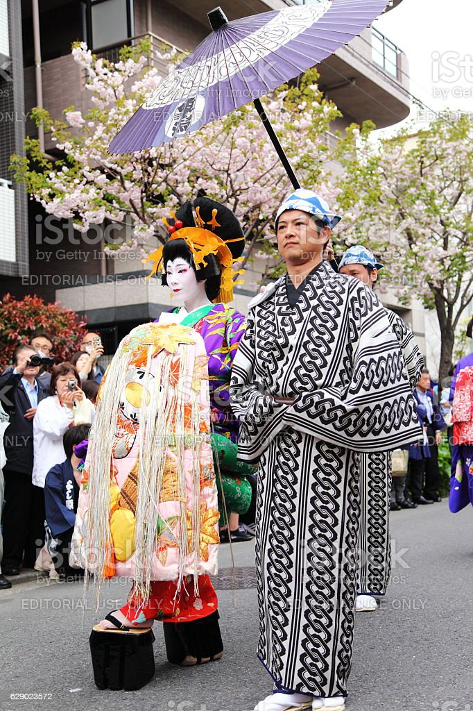 Oiran Dochu Procession, Parade of Japanese Traditional Courtesan in JAPAN. stock photo