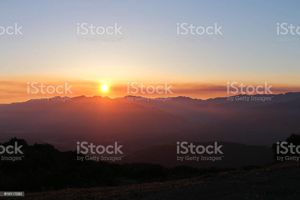 Ojai Valley Sunset stock photo