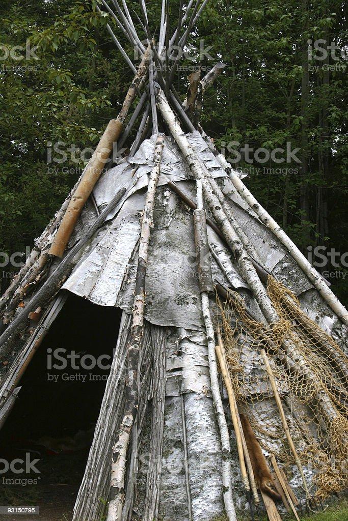 Ojibwe Teepee Detail stock photo