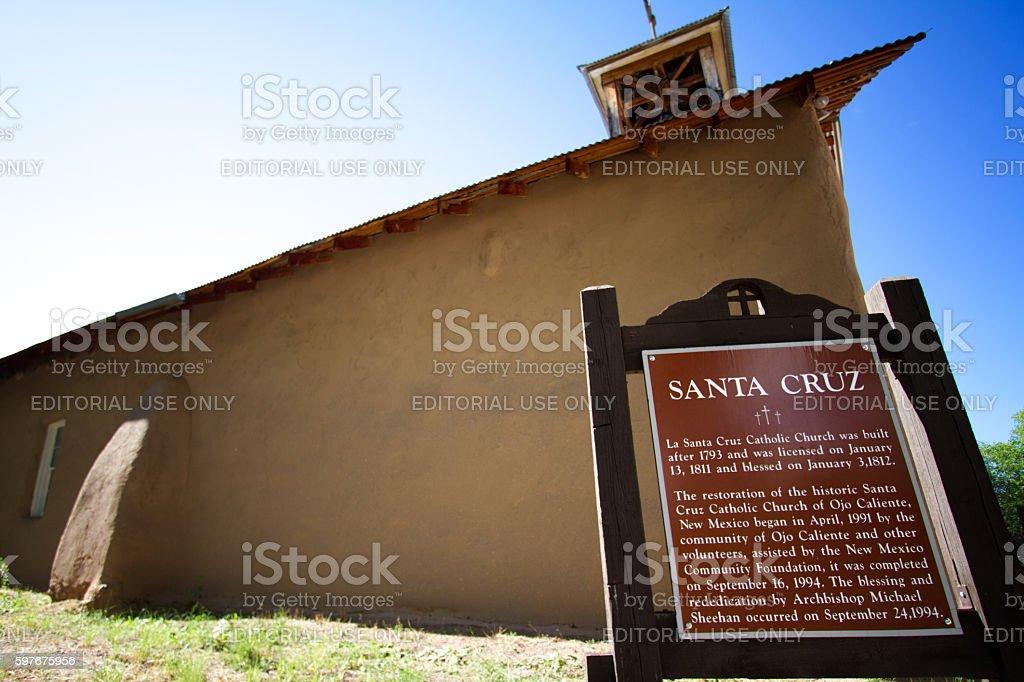 Ojo Caliente, New Mexico: Historic Adobe Church stock photo