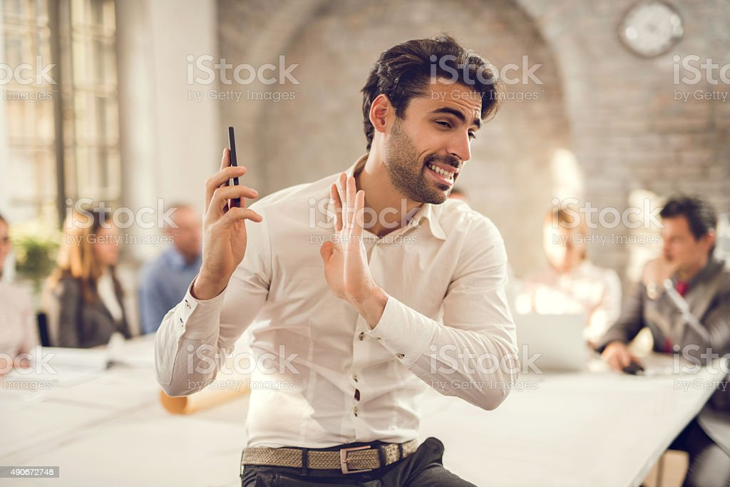 Ok, don't yell so much over the phone! stock photo